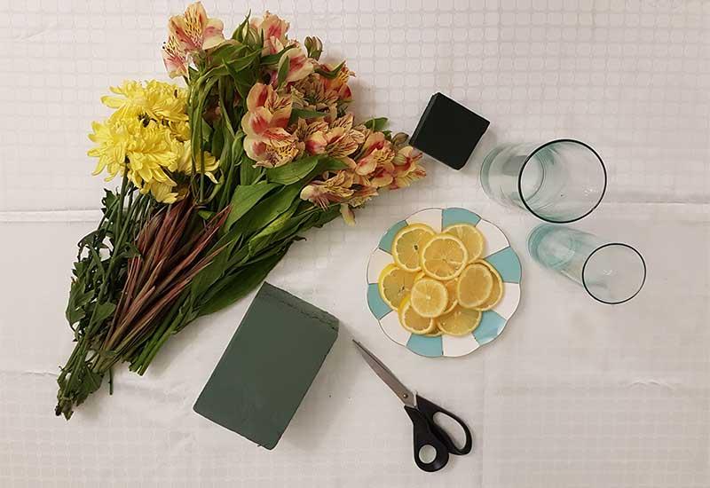 آموزش گل آرايي ایرانی در گلدان شیشه ای برای میز غذاخوری