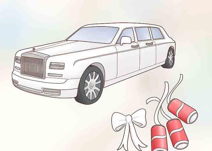 ماشین عروس با روبان